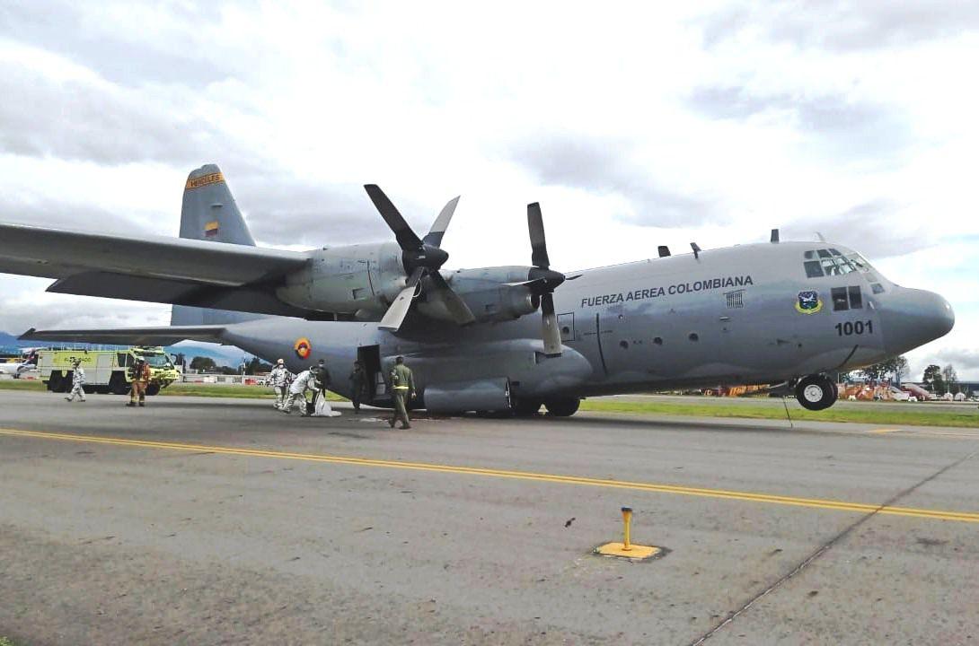 Un avión Hercules de Colombia sufre una falla en su sistema hidráulico